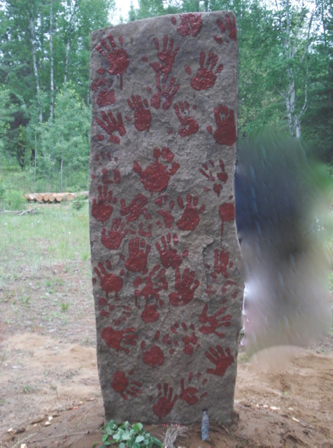 healing through ceremony, community ceremony, red ochre, standing stone, hand prints, heathenry