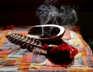 smudge, smudge bowl, smudge fan, Michele Fire-River Heart, healing through ceremony