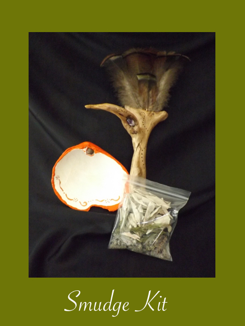 smudge kit, smudge shell, smudge, Michele Fire-River Heart, healing through ceremony